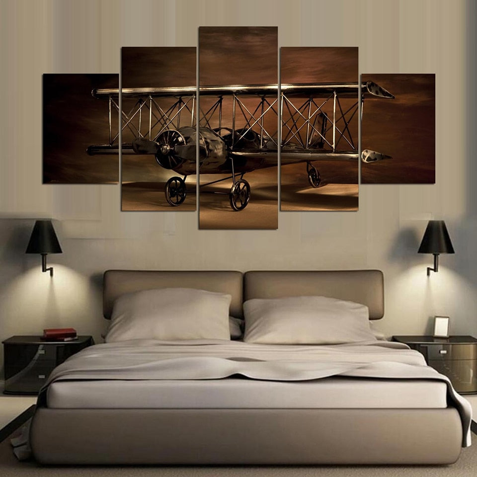 Ancient Aircraft 5 Piece HD Multi Panel Canvas Wall Art Frame