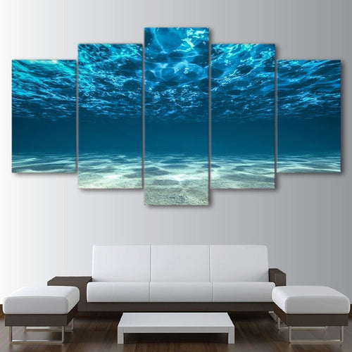 Blue Ocean Sea 5 Piece HD Multi Panel Canvas Wall Art Frame
