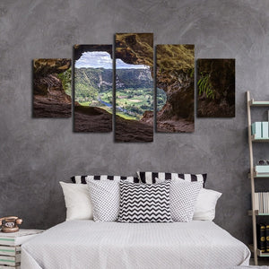 View From A Cave 5 Piece HD Multi Panel Canvas Wall Art Frame