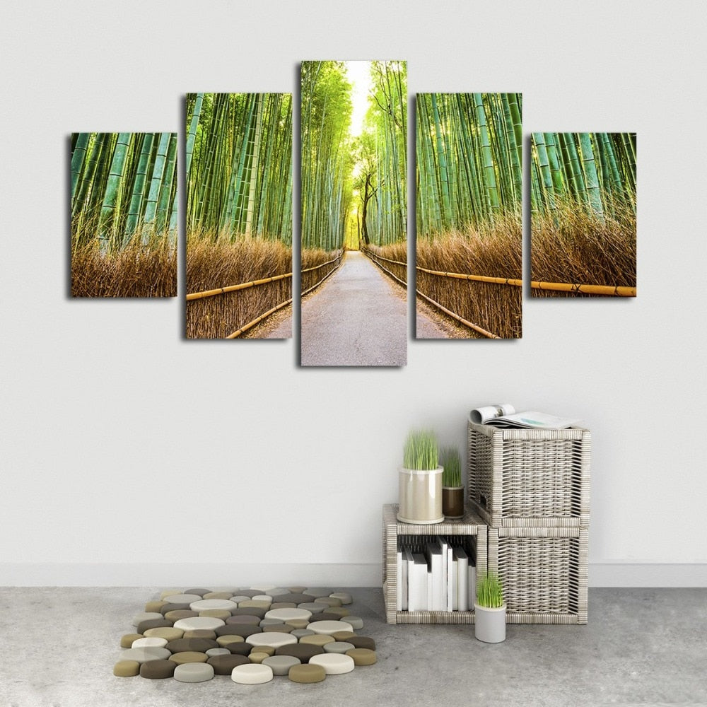 Bamboo Forest Footpath 5 Piece HD Multi Panel Canvas Wall Art Frame