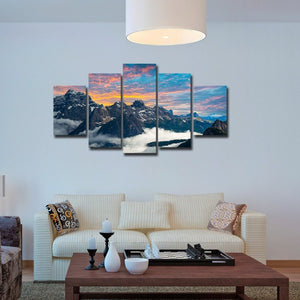 Fog Mountains Scenery 5 Piece HD Multi Panel Canvas Wall Art Frame