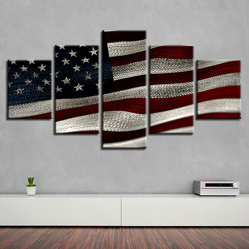American Flag Vintage 5 Piece HD Multi Panel Canvas Wall Art Frame