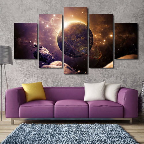 Space Galaxy 5 Piece HD Multi Panel Canvas Wall Art Frame