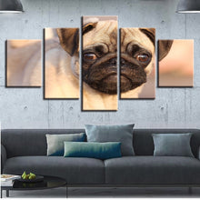 Cute Pug 5 Piece HD Multi Panel Canvas Wall Art Frame