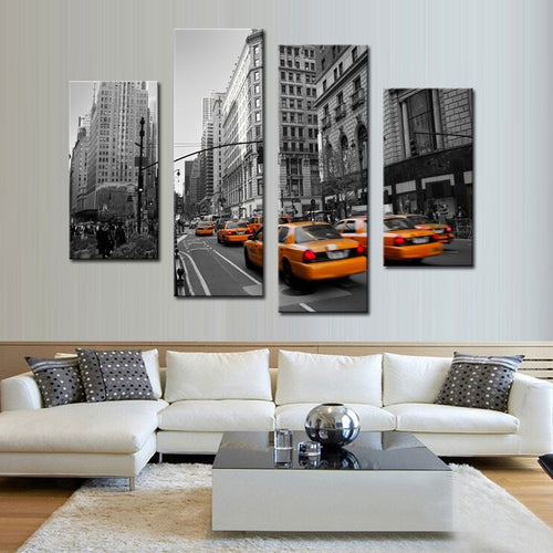 Taxis 4 Piece HD Multi Panel Canvas Wall Art Frame