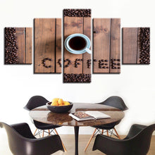 Coffee Bean Coffee Cup 5 Piece HD Multi Panel Canvas Wall Art Frame