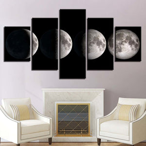 Moon Phases 5 Piece HD Multi Panel Canvas Wall Art Frame