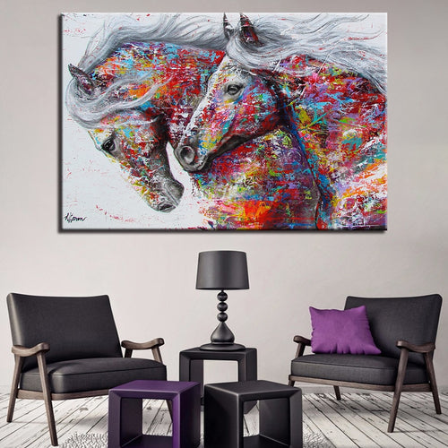 Artsy Horses 1 Piece HD Multi Panel Canvas Wall Art Frame