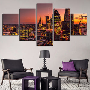 Sunset City Landscape 5 Piece HD Multi Panel Canvas Wall Art Frame