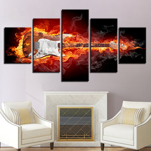 Burning Guitar 5 Piece HD Multi Panel Canvas Wall Art Frame