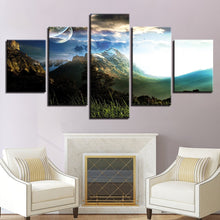 Planets Over The Snow 5 Piece HD Multi Panel Canvas Wall Art Frame