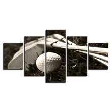 Golf Clubs Ball 5 Piece HD Multi Panel Canvas Wall Art Frame