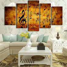 Musical Note 5 Piece HD Multi Panel Canvas Wall Art Frame