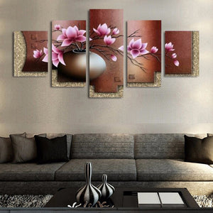Vintage Flowers 5 Piece HD Multi Panel Canvas Wall Art Frame