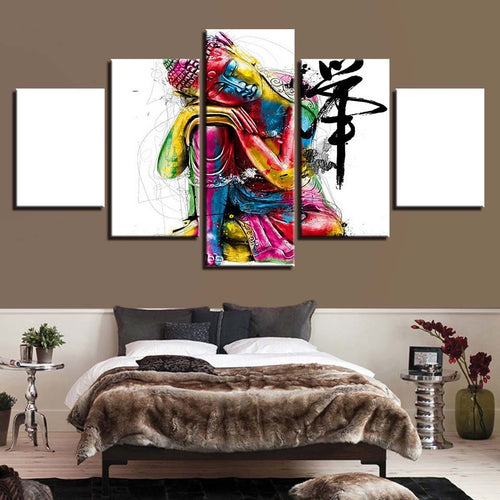 Colorful Buddha 5 Piece HD Multi Panel Canvas Wall Art Frame