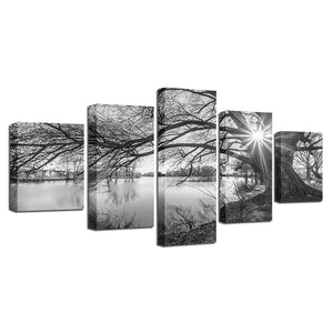Lakeside Big Trees 5 Piece HD Multi Panel Canvas Wall Art Frame