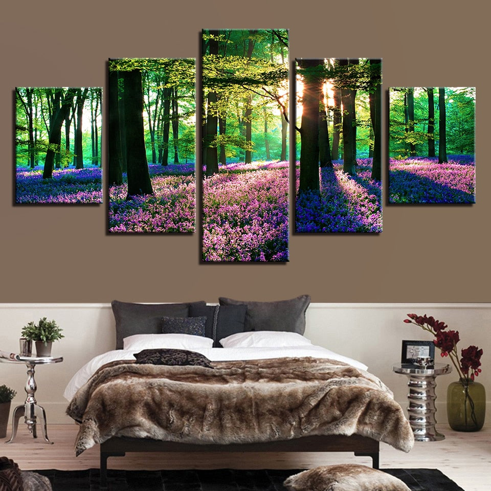 Lavender Field 5 Piece HD Multi Panel Canvas Wall Art Frame