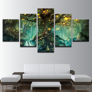 Enchanted Tree 5 Piece HD Multi Panel Canvas Wall Art Frame