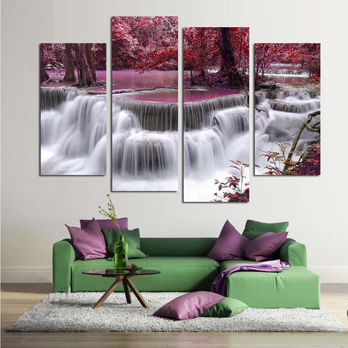 Mangrove & Waterfall 4 Piece HD Multi Panel Canvas Wall Art Frame