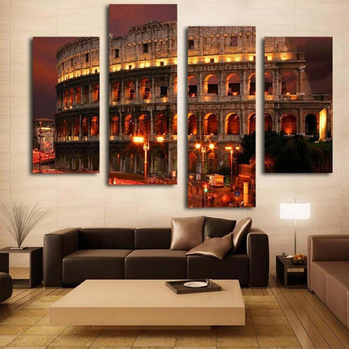 Lit Colosseum Piece HD Multi Panel Canvas Wall Art Frame