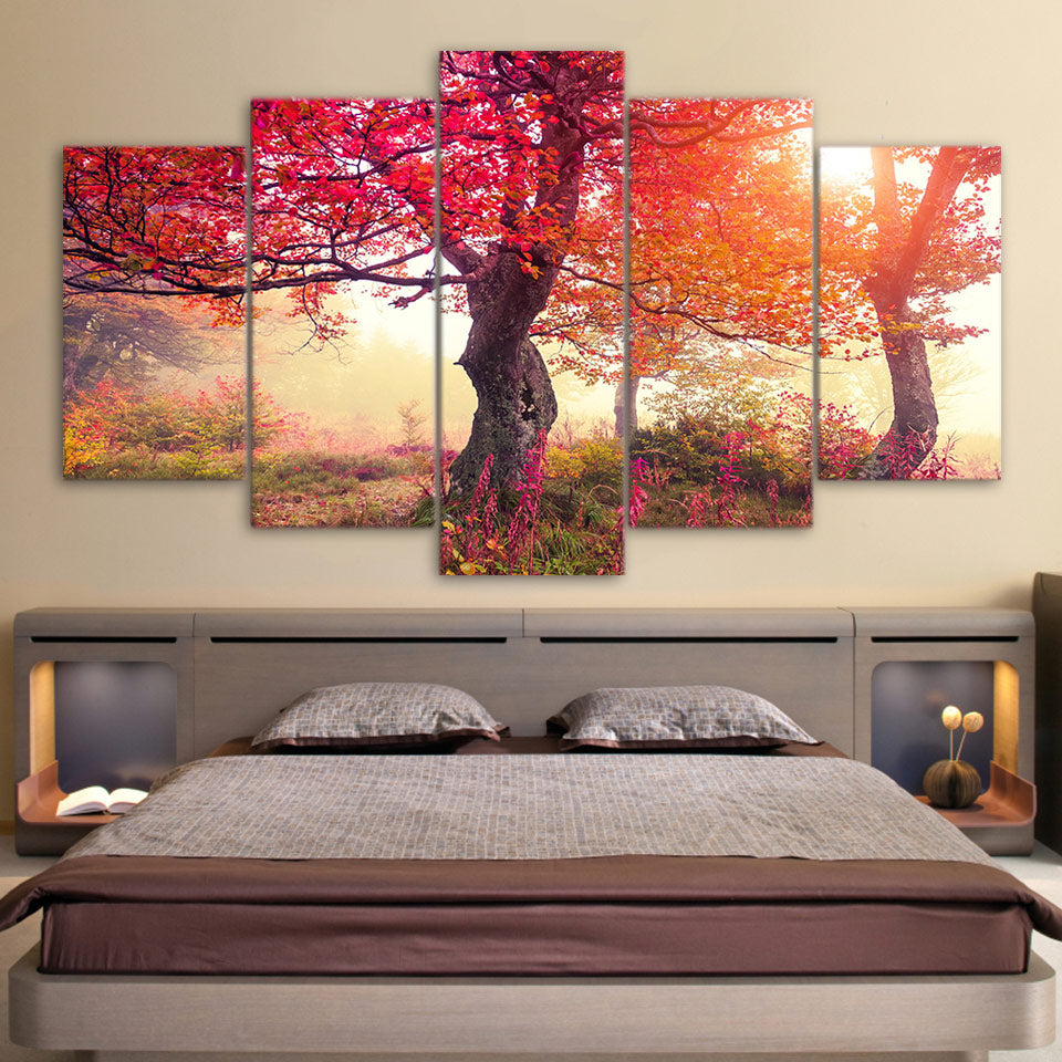 Red Tree Bloom 5 Piece HD Multi Panel Canvas Wall Art Frame
