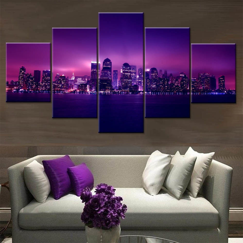 Purple Light City 5 Piece HD Multi Panel Canvas Wall Art Frame