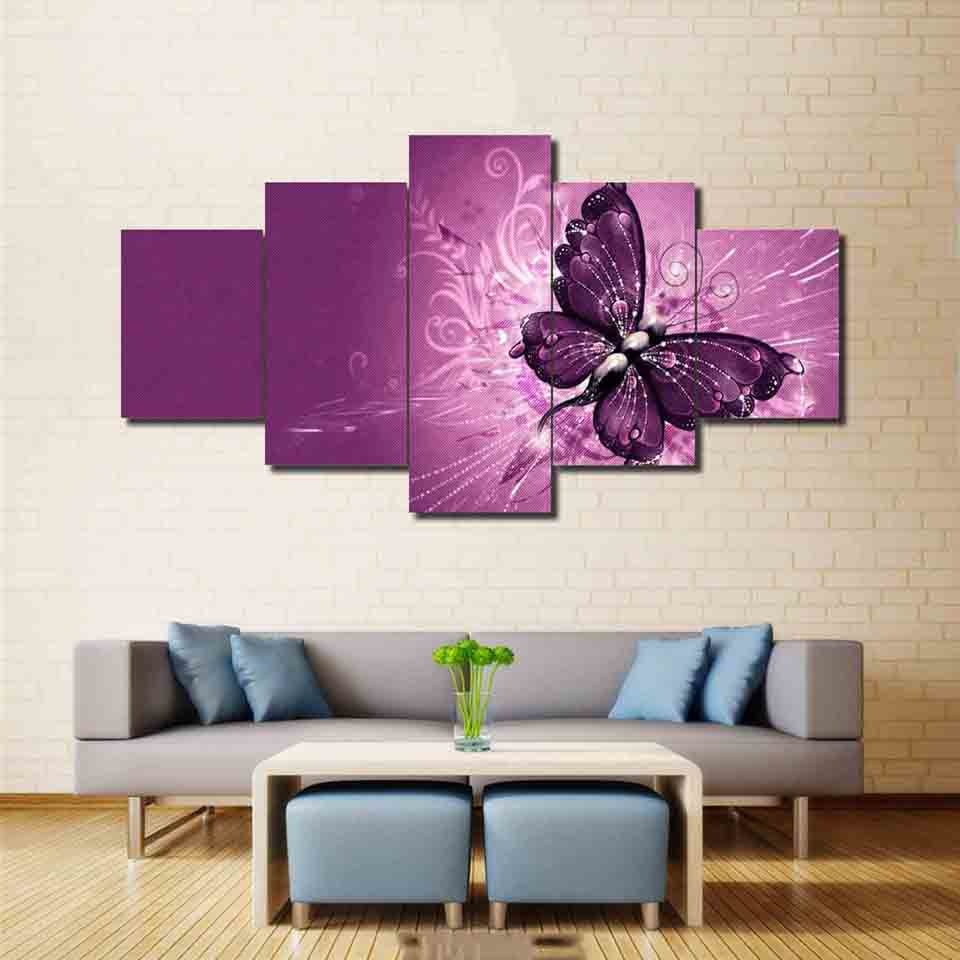 Modern Butterfly 5 Piece HD Multi Panel Canvas Wall Art Frame