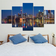Modern Buildings at Night 5 Piece HD Multi Panel Canvas Wall Art Frame