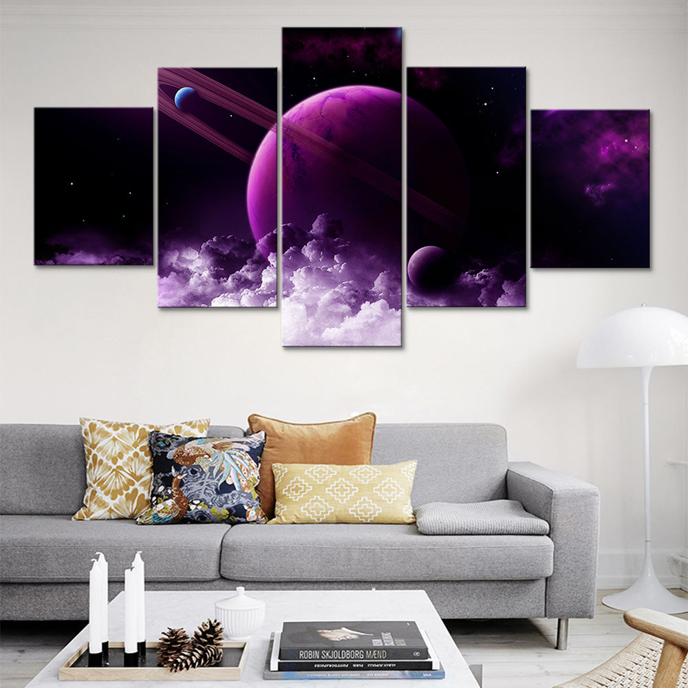 Purple Planet 5 Piece HD Multi Panel Canvas Wall Art Frame
