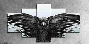 Crow Spreading Its Wings 5 Piece HD Multi Panel Canvas Wall Art Frame