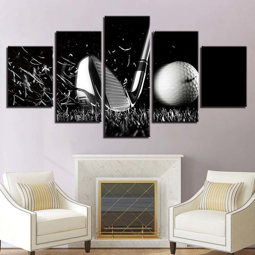 Golf 5 Piece HD Multi Panel Canvas Wall Art Frame