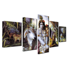 India Krishna Radha 5 Piece HD Multi Panel Canvas Wall Art Frame