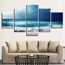 Blue Waves Before The Storm 5 Piece HD Multi Panel Canvas Wall Art Frame