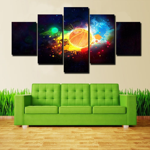 Abstract Basketball 5 Piece HD Multi Panel Canvas Wall Art Frame
