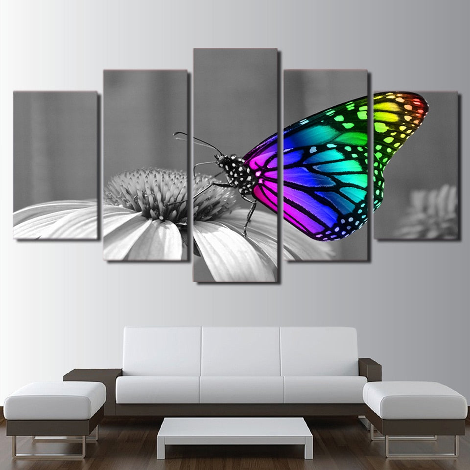 Butterfly Flowers 5 Piece HD Multi Panel Canvas Wall Art Frame