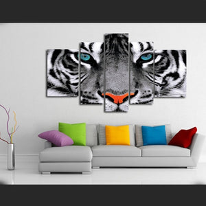 White Tiger Eyes 5 Piece HD Multi Panel Canvas Wall Art Frame