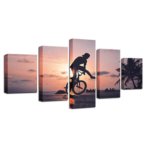 Sunset Bike Boy 5 Piece HD Multi Panel Canvas Wall Art Frame