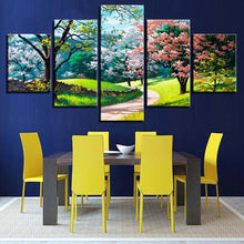 Flower Tree Spring 5 Piece HD Multi Panel Canvas Wall Art Frame