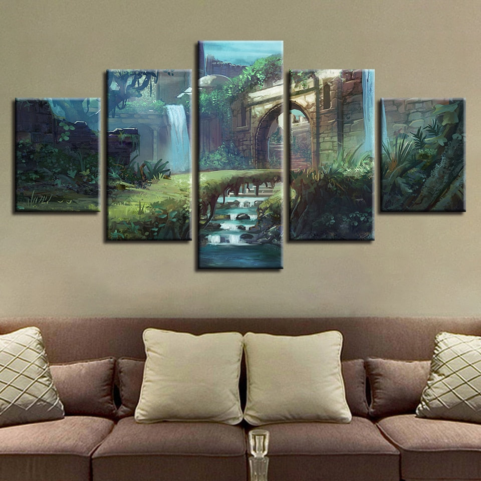 Castle Path Nature 5 Piece HD Multi Panel Canvas Wall Art Frame