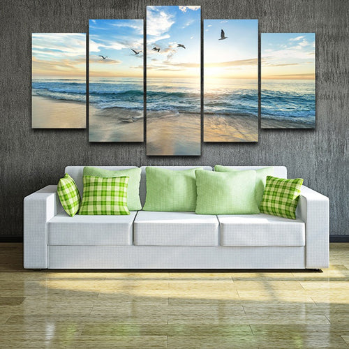 Seagulls on Beach 5 Piece HD Multi Panel Canvas Wall Art Frame