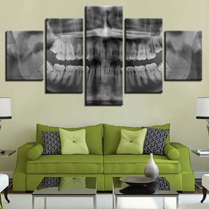 Skull Teeth 5 Piece HD Multi Panel Canvas Wall Art Frame