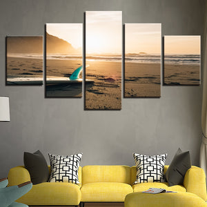 Sunshine Beach Surf Board 5 Piece HD Multi Panel Canvas Wall Art Frame