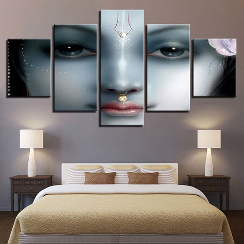 Shri Krishna 5 Piece HD Multi Panel Canvas Wall Art Frame