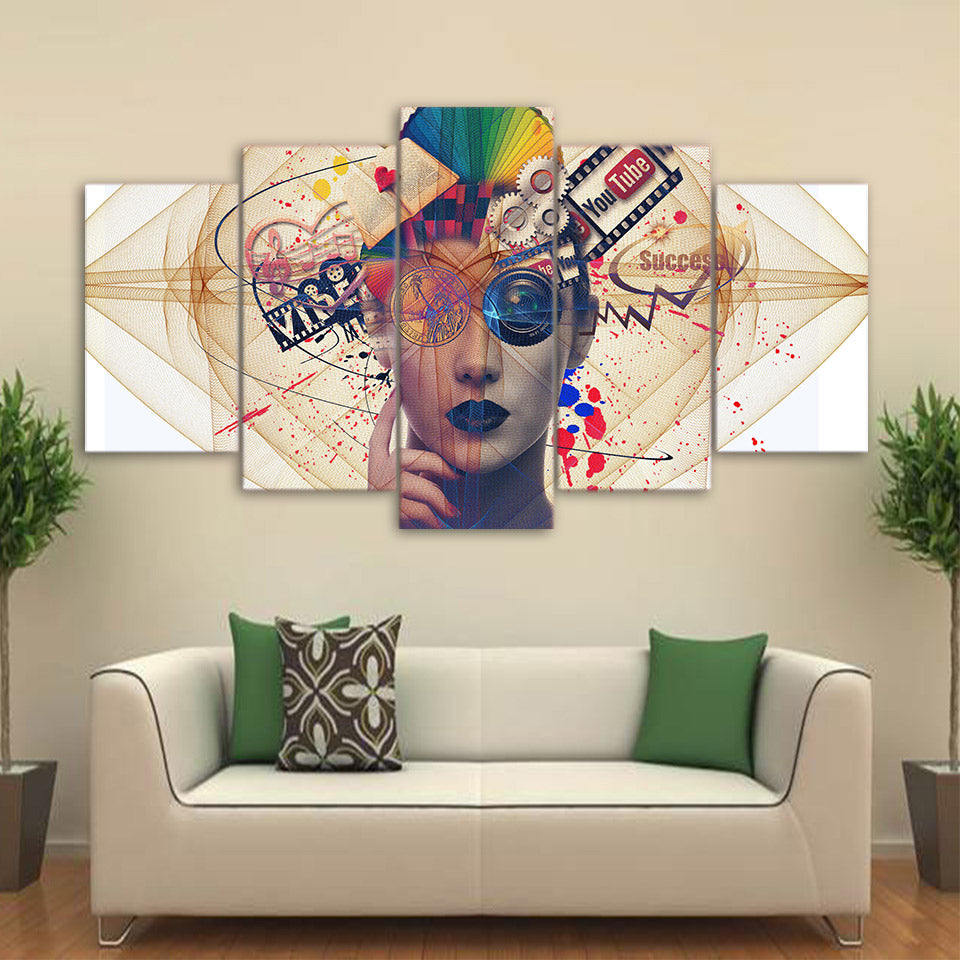 Psychedelic Woman's Face  Piece HD Multi Panel Canvas Wall Art Frame