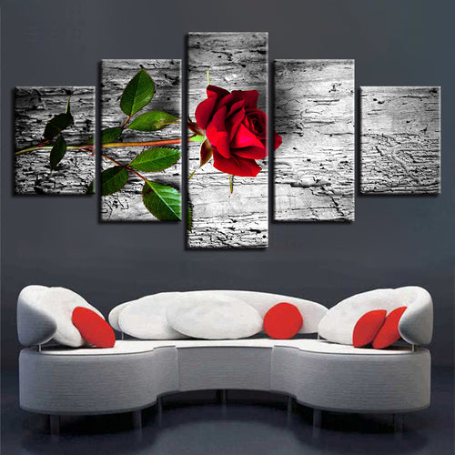 Red Rose HD 5 Piece HD Multi Panel Canvas Wall Art Frame
