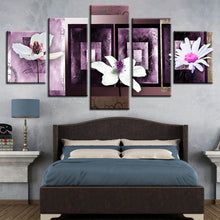 Three White Pink Flower 5 Piece HD Multi Panel Canvas Wall Art Frame