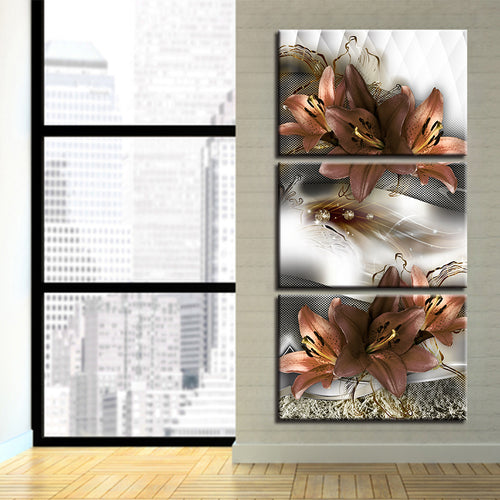Lilies Flowers 3 Piece HD Multi Panel Canvas Wall Art Frame