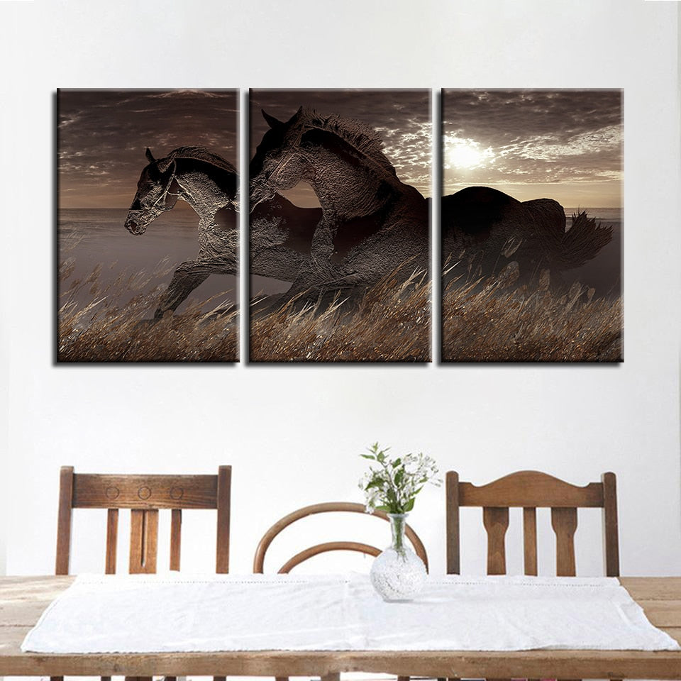Grassland Horses 3 Piece HD Multi Panel Canvas Wall Art Frame