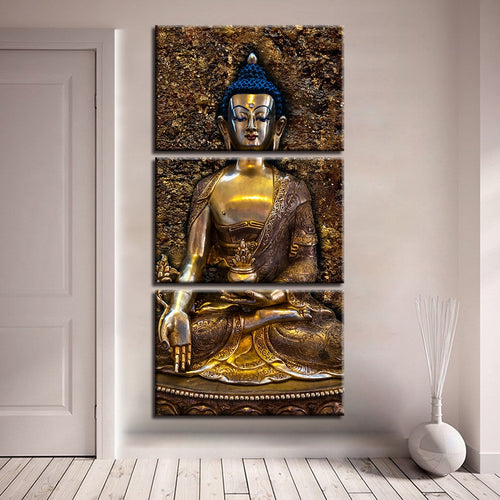 Buddhism Poster 3 Piece HD Multi Panel Canvas Wall Art Frame