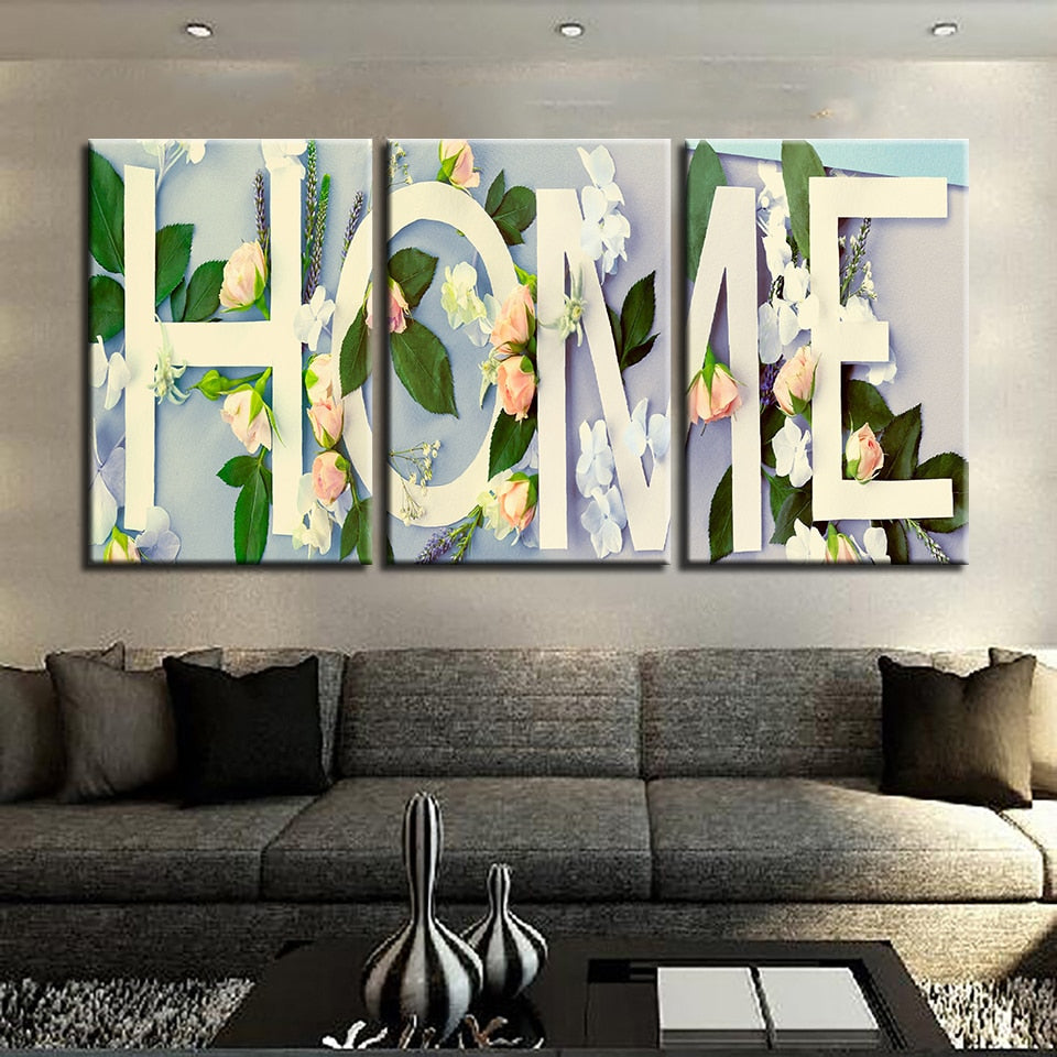 Roses & Home 3 Piece HD Multi Panel Canvas Wall Art Frame